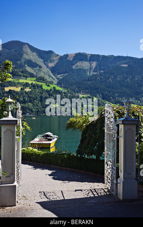 View over Zeller See lake and mountains, Zell am See, Austria - Stock Photo