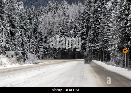 Slippery road during cold winter day in Vancouver, British Columbia Canada - Stock Photo