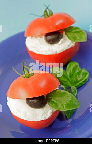 Stuffed tomatoes with soft cheese. Recipe available. - Stock Photo