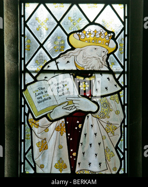Detail from a stained glass window depicting King David, by Herbert Bryans (artist E Heasman), St Martin's Church, - Stock Photo