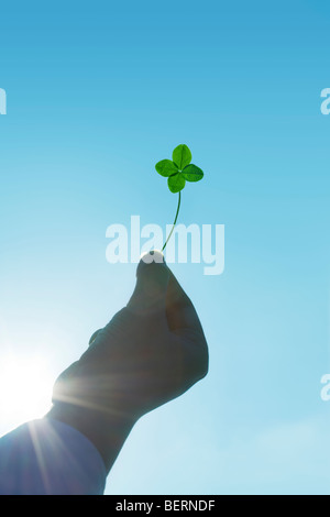 Woman holding  Four-Leaf Clover - Stock Photo