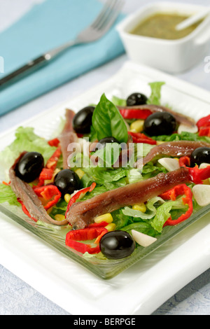 Mediterranean salad. Recipe available. - Stock Photo