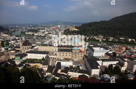 Austria, Salzburg, Old Town, aerial panoramic view - Stock Photo