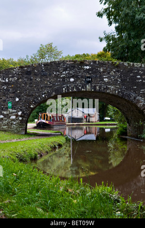 Old stone bridge 134 on the Monmouth and Brecon Canal taken at Llangynidr mid Wales early autumn with pretty reflection - Stock Photo