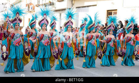 People in Costume at a Spanish Fiesta in Cullar, Spain. - Stock Photo