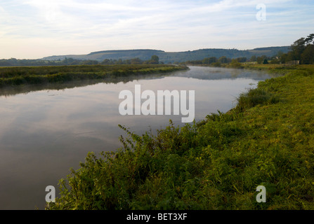 Early morning mist and sunlight on the river Arun near Amberley in West Sussex UK - Stock Photo