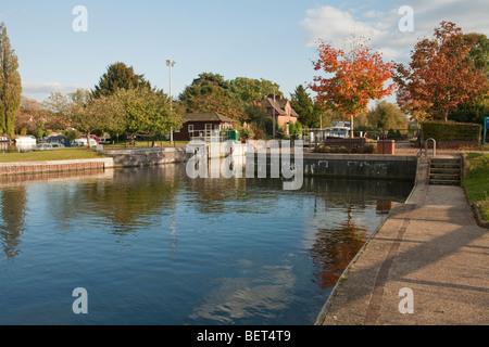Hambleden Lock near Henley, River Thames, Oxfordshire, Uk - Stock Photo