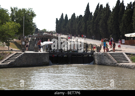 Lock on Canal du Midi at Beziers - Stock Photo