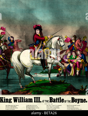 King William III at the battle of the Boyne, July 1, 1690 - Stock Photo