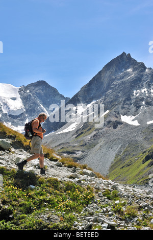 Walker / Hiker walking in summer along mountain path in the Swiss Pennine Alps / Walliser Alpen, Valais / Wallis, - Stock Photo