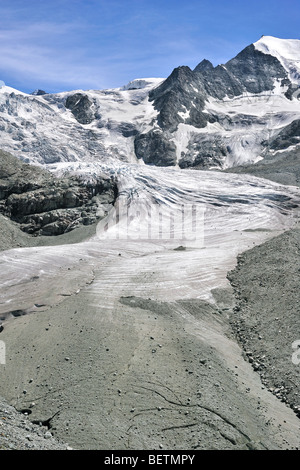 The Moiry Glacier showing moraine and retreating ice and snow in the Pennine Alps / Walliser Alpen, Valais / Wallis, - Stock Photo