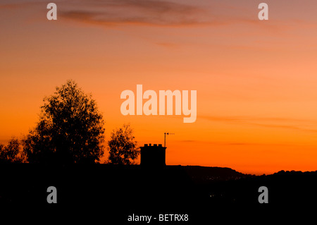 Sunset from Whiteshill, Stroud, Gloucestershire, England - Stock Photo