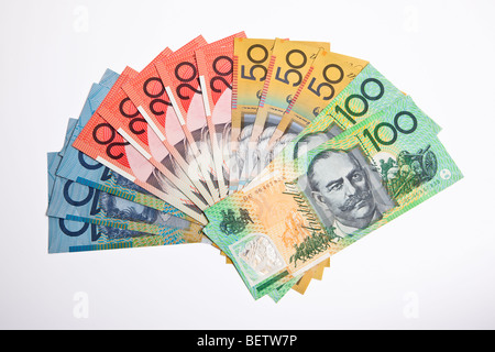 Australian currency in various denominations - Stock Photo