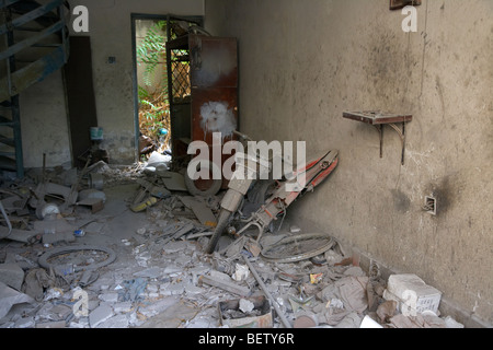 abandoned turkish owned workshop near the UN buffer zone in the green line dividing north and south cyprus in nicosia - Stock Photo