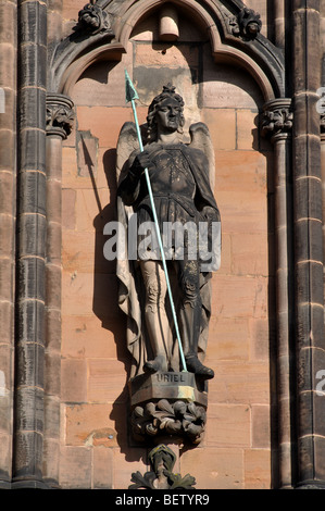 Uriel statue on West Front of Lichfield Cathedral, Staffordshire, England, UK - Stock Photo