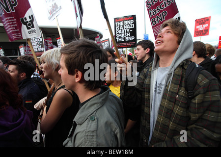 Protesters at the BBC against the BNP leader Nick Griffin's appearance on Question Time - Stock Photo