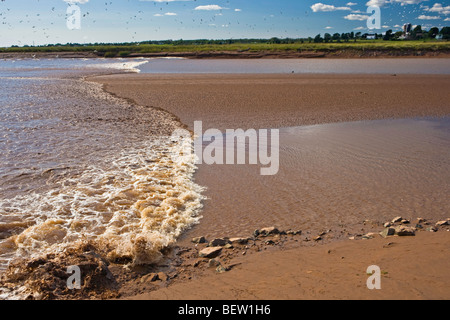 Tidal Bore on the Salmon River in Truro,Tidal Bore Road,Fundy Shore Ecotour,Glooscap Trail,Cobequid Bay,Nova Scotia,Canada. - Stock Photo