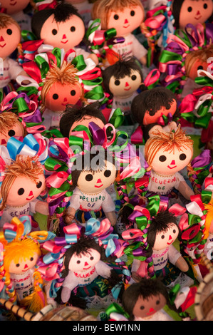 Souvenir dolls for sale by street vendor in Guanajuato, Mexico. - Stock Photo