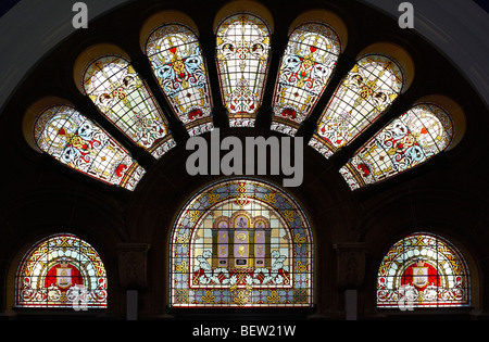 Stained glass windows in the Queen Victoria Building Sydney Australia - Stock Photo