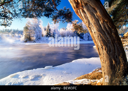 Dal River in Sweden in low winter light - Stock Photo