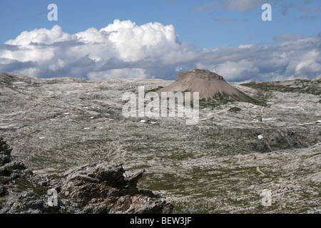 the vast Puez Altipiano in the Italian Dolomites summer - Stock Photo
