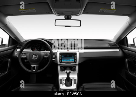 2010 Volkswagen CC Sport in White - Dashboard, center console, gear shifter view - Stock Photo