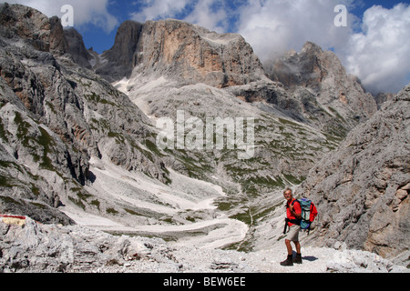 walker in Pale di San Martino park, Italian Dolomites summer - Stock Photo