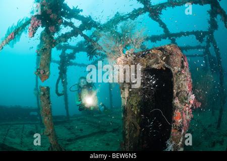 Superstructure of Kuda Giri Wreck, South Male Atoll, Maldives - Stock Photo