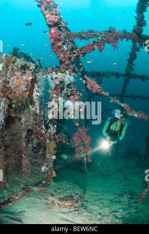 Diver at Kuda Giri Wreck, South Male Atoll, Maldives - Stock Photo