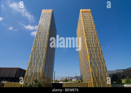 Twin towers, European Court of Justice, Kirchberg plateau, Luxembourg, wide-angle view - Stock Photo