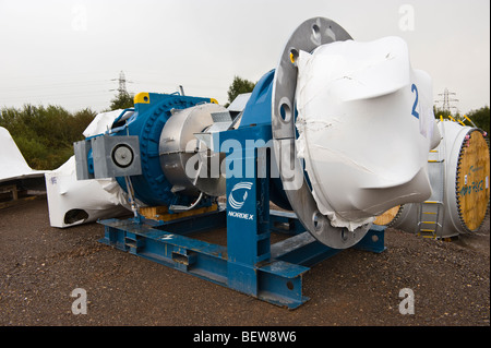 Horizontal axis containing gearbox and brake for Nordex N90 wind turbine under construction in Newport South Wales - Stock Photo