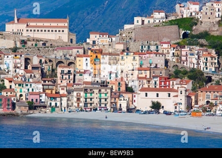 Buildings at the coast of Scilla, Calabria, Italy - Stock Photo