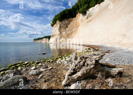 Pebble beach at the chalk cliff of Jasmund, Rugia, Germany - Stock Photo