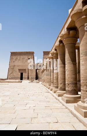 Temple of Isis on Philae Island, Aswan, Egypt - Stock Photo