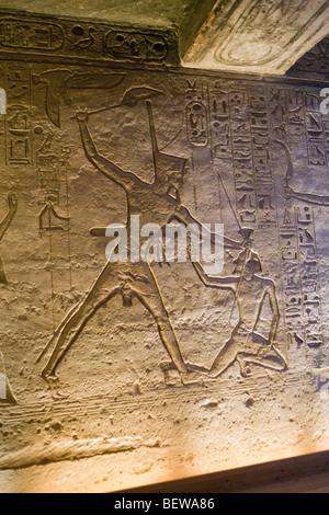 Relief in Small Hathor Temple of Nefertari, Abu Simbel, Egypt - Stock Photo