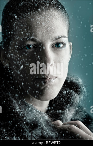 dark haired woman, portrait - Stock Photo