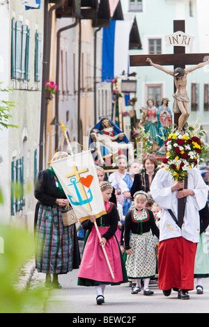 Corpus Christi procession in Marktschellenberg, Germany - Stock Photo