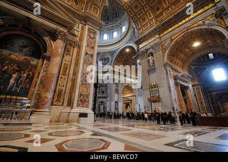 Interior of St. Peters Basilica, Rome, Vatican City, wide-angle view - Stock Photo