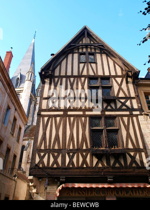 Old half-timbered house, Dijon, France, low angle view - Stock Photo