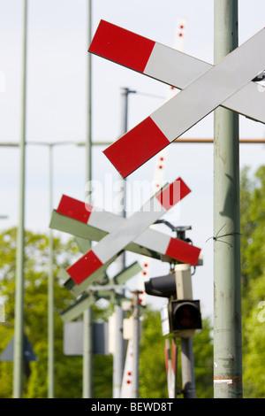warning cross at a railroad crossing, Berlin, Germany - Stock Photo
