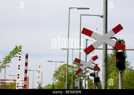 warning cross a a railroad crossing, Berlin, Germany - Stock Photo