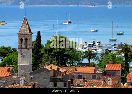 View to the old quarter and the marina of Trogir, Croatia, elevated view - Stock Photo