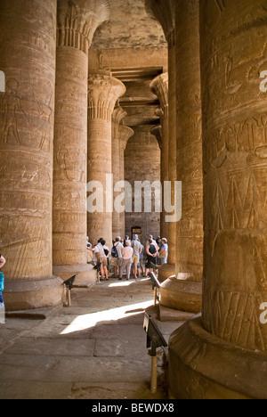 Columned hall of the Temple of Horus, Edfu, Egypt - Stock Photo