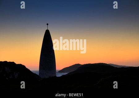 The Beacon at Baltimore (Lot's Wife) on a winter evening at sunset. - Stock Photo