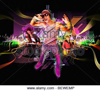 Man performing with band in nightclub - Stock Photo