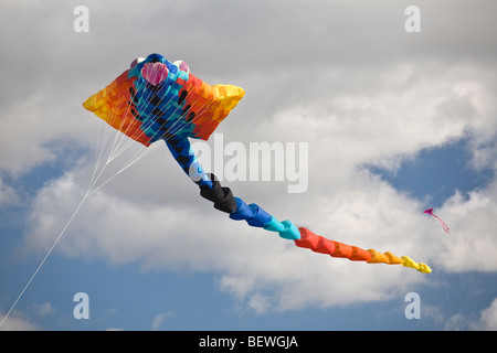A flying kite at the time of the 'Cervolix' Air Festival (Auvergne - France). Cerf-volant lors du festival aérien - Stock Photo