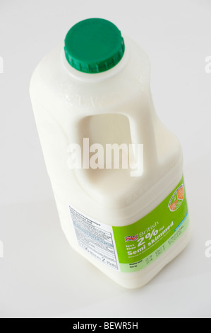 Two Pint carton of semi skimmed milk - Stock Photo