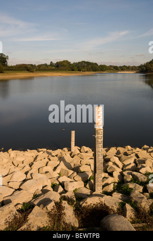 A water level measure shows the extent of the water shortage in a reservoir in Northamptonshire. - Stock Photo