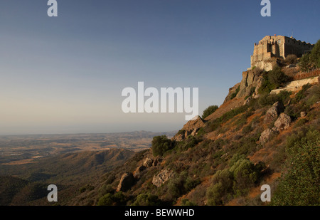 the stavrovouni monastery on the mountaintop founded in the 4th century by st helena republic of cyprus europe - Stock Photo