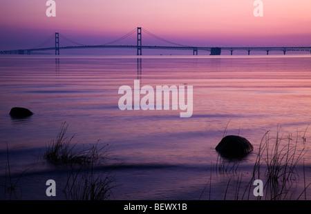 Mackinac Bridge in Michigan - Stock Photo